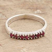 Ruby band ring, 'Pretty Princess' - Sterling Silver and Ruby Band Ring