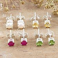 Gemstone stud earrings, 'Facts of Life' (set of 4) - Sterling Silver Gemstone Stud Earrings from India (Set of 4)