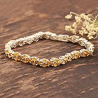 Citrine tennis bracelet, 'Shimmering Sun'