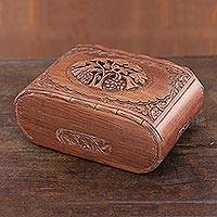 Wood jewelry box, 'Kashmiri Delight' - Floral Carved Wood jewellery Box