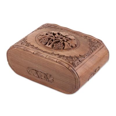 Wood jewelry box, 'Kashmiri Delight' - Floral Carved Wood jewellery Box