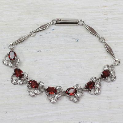 Garnet link bracelet, 'Nature's Delight' - Floral Garnet Bracelet Handcrafted in Sterling Silver