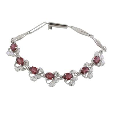 Floral Garnet Bracelet Handcrafted in Sterling Silver
