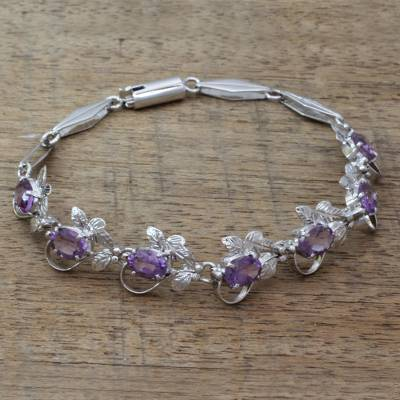 Amethyst link bracelet, 'Purple Mist' - Handmade Floral Sterling Silver and Amethyst Bracelet