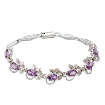Handmade Floral Sterling Silver and Amethyst Bracelet