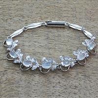 Moonstone tennis bracelet, 'Misty Affair' - Floral Sterling Silver Link Moonstone Bracelet