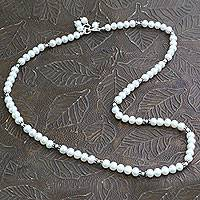 Pearl strand necklace, 'Smooth Ice' - Handcrafted Bridal jewellery Pearl Strand Necklace