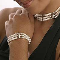 Cultured pearl wristband bracelet, 'Jewels of India' - Pearl Wristband Bracelet with Sterling Silver Bridal Jewelry