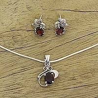 Garnet jewelry set, 'Red Leaves' - Floral Jewelry Set in Sterling Silver and Garnet