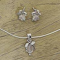 Moonstone jewelry set, 'Midnight Leaves'