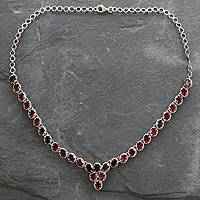Garnet Y-necklace, 'Cascading Crimson' - Sterling Silver and Garnet Choker from India