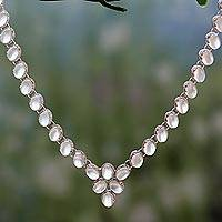 Moonstone Y-necklace, 'Cascading Light'