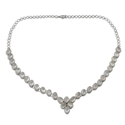 Moonstone Y-necklace, 'Cascading Light' - Sterling Silver Choker Moonstone Necklace Good Fortune