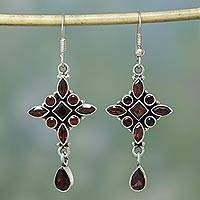 Garnet earrings, 'Red Star' - Handmade Garnet and Sterling Silver Earrings Indian Jewelry