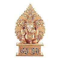 Wood sculpture, 'Fiery Ganesha'
