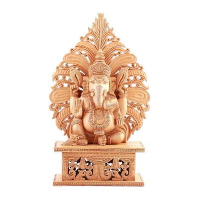Wood sculpture, 'Fiery Ganesha' - Wood sculpture
