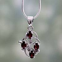 Garnet floral necklace, 'Scarlet Vines' - Handmade Sterling Silver and Garnet Necklace