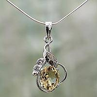 Topaz pendant necklace, 'Golden Majesty' - Sterling Silver and Topaz Necklace Modern Jewelry