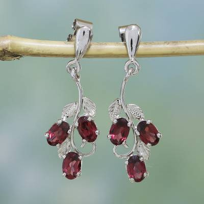 Garnet dangle earrings, 'Deep Red Wine' - Garnet dangle earrings