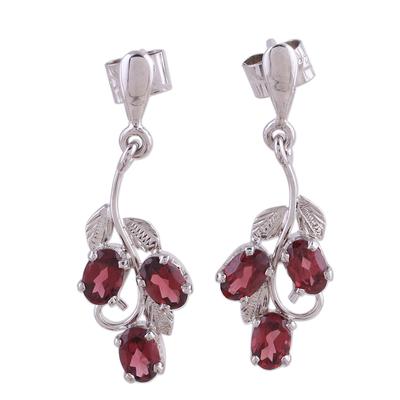 Garnet dangle earrings, 'Deep Red Wine' - Garnet dangle earrings