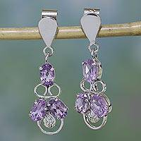 Amethyst dangle earrings, 'Purple Trio' - Amethyst dangle earrings