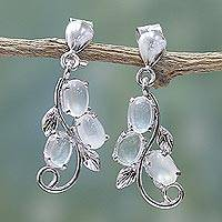 Moonstone earrings, 'Shining Cloud' - Sterling Silver and Moonstone Earrings