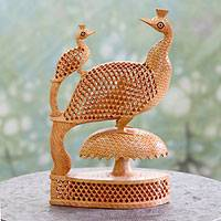 Wood statuette, 'Peacock Freedom' - Intricate Hand Carved Wooden Peacock Sculpture