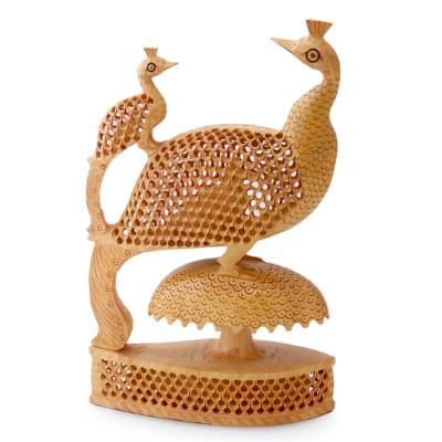 Unicef Market Intricate Hand Carved Wooden Peacock