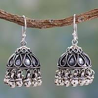Sterling silver chandelier earrings, 'Silver Bells'