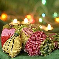 Beaded ornaments, 'Tropical Fruit' (set of 10) - Beaded ornaments (Set of 10)