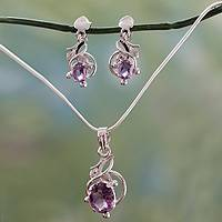 Amethyst jewelry set, 'Wisteria' - Indian Sterling Silver & Amethyst Floral Necklace & Earrings