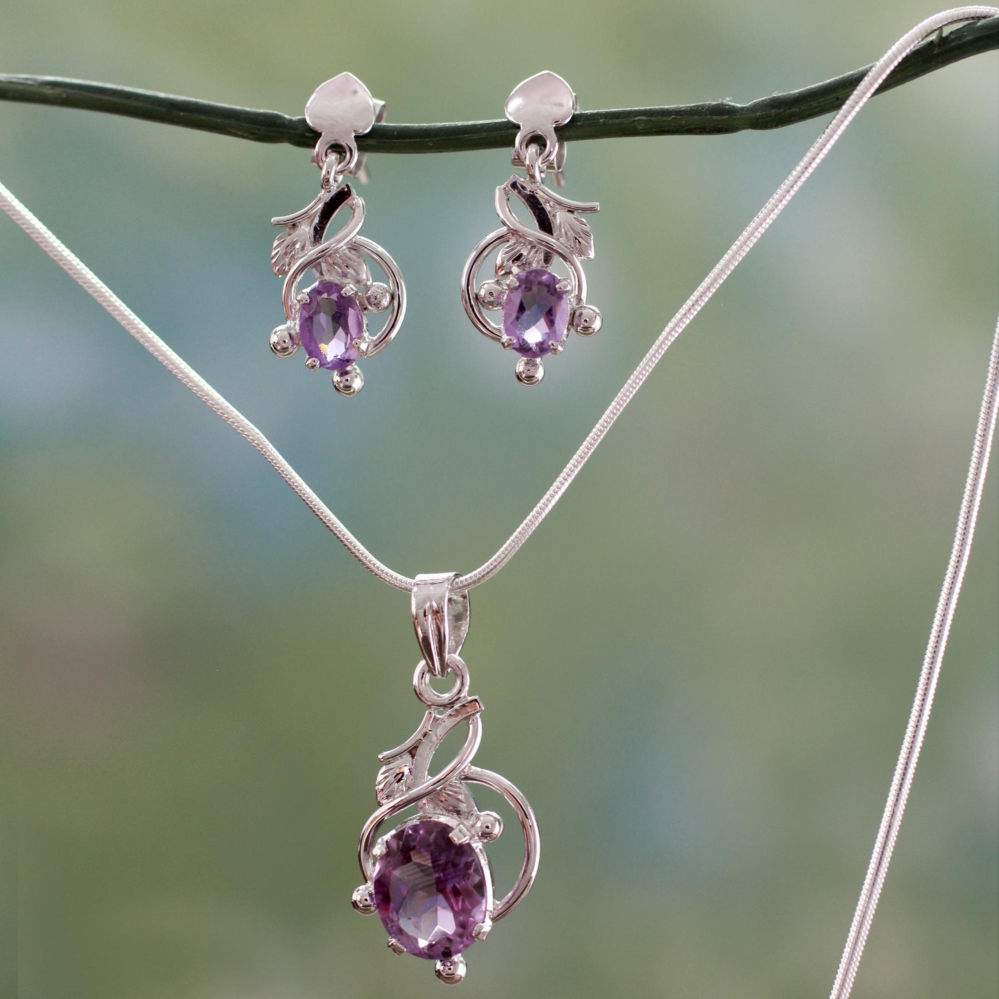 Indian Sterling Silver & Amethyst Floral Necklace & Earrings, 'Amethyst in  Bloom'