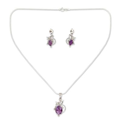 Amethyst jewelry set, 'Wisteria' - Amethyst Jewelry Set Sterling Silver Necklace Earrings