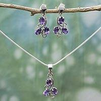Amethyst jewelry set, 'Mystical Blooms' - Fair Trade Amethyst Necklace and Earrings Jewelry Set
