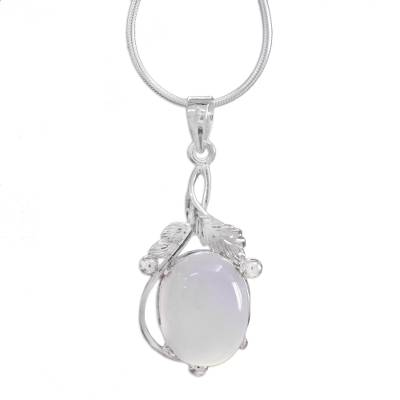 Chalcedony pendant necklace, 'Moon Goddess Charm' - Chalcedony Necklace Sterling Silver Artisan Jewelry