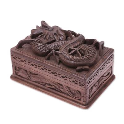 Walnut jewelry box, 'Lucky Dragon' - Hand Carved Wood jewellery Box from India