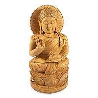 Wood statuette, 'Benevolent Heart of Buddha' - Indian Karma Wood Sculpture