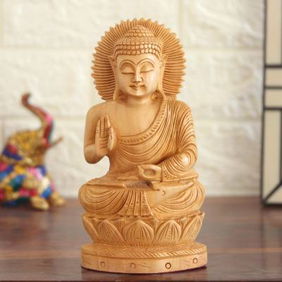 Wood statuette, 'Buddha Hopes for Peace on Earth' - Carved wood statuette