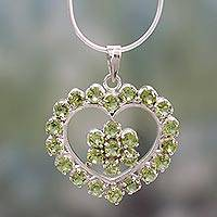 Peridot necklace, 'Floral Heart' - Peridot Heart Necklace Artisan Crafted Jewelry