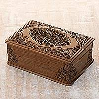 Walnut jewelry box, 'Eden Tree' - Floral Wood Jewelry Box