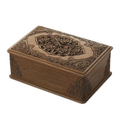 Walnut jewelry box, 'Eden Tree' - Floral Wood jewellery Box