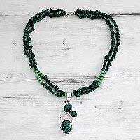 Malachite pendant necklace, 'Drama in Green' - Malachite Necklace Artisan Jewelry from India