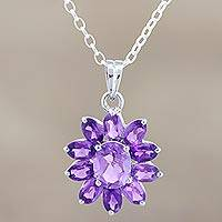 Amethyst pendant necklace, 'Lilac Sunflower' - Amethyst Floral Necklace Sterling Silver Jewelry