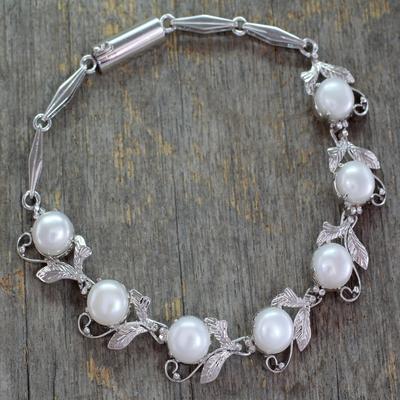 Pearl flower bracelet, 'Misty' - Pearl Bracelet Tennis Style  Sterling Silver jewellery