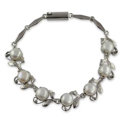 Pearl Bracelet Tennis Style Sterling Silver Jewelry