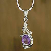 Amethyst pendant necklace, 'Perfect Plum' - Amethyst pendant necklace