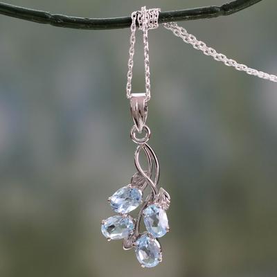 Blue topaz pendant necklace, 'Sky Flowers' - Blue Topaz Pendant Necklace in Sterling Silver India Jewelry