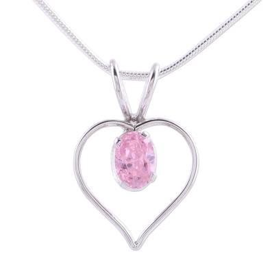 Sterling silver heart necklace, 'Heart of Rose' - Heart Jewelry Sterling Silver and Pink Cubic Zirconia