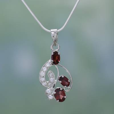 Garnet pendant necklace, 'Crimson Trio' - Garnet Pendant on Sterling Silver Necklace from India