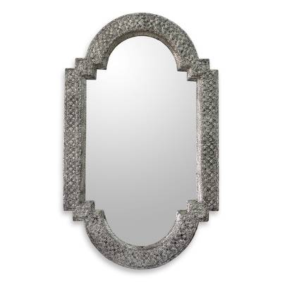 Mirror, 'Palace Window' - Repousse Brass Nickel Mirror Wall Artisan Crafted